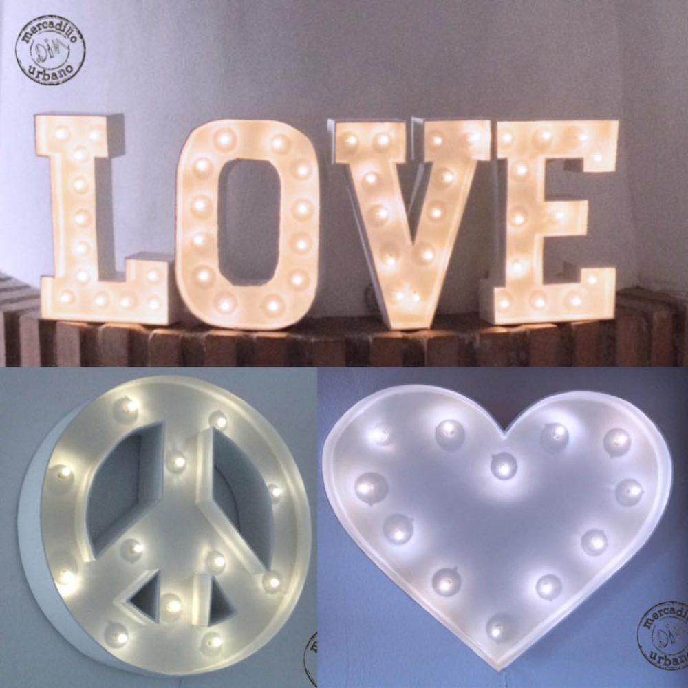 Luz de noche marquee: Letras y símbolos luminosos para la habitación de los niños