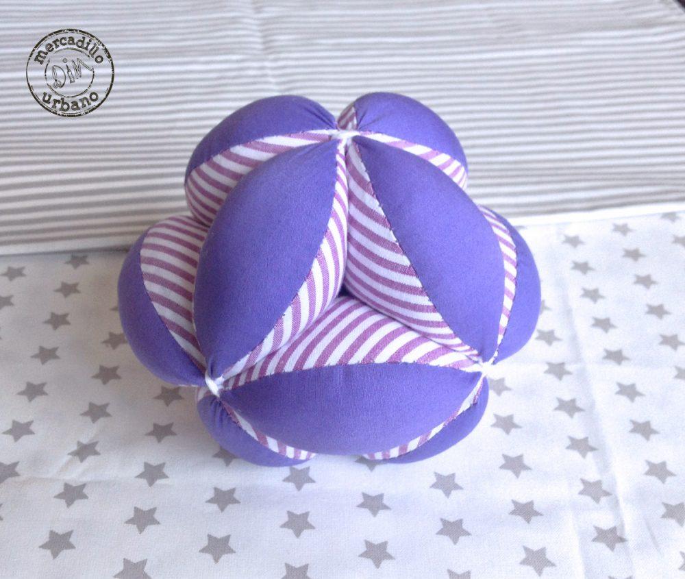 Pelota infantil, estilo Montessori, para bebés, material Montessori, regalo sensorial, juguetes para bebés, TONOS MORADO rayas
