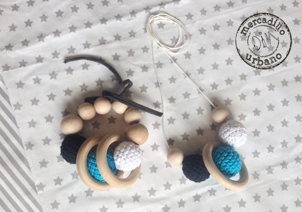 KIT 2 Regalos para hermanos, collar de lactancia, sonajero de madera, estilo Montessori, TONOS TURQUESA, regalos para bebés
